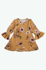 Bell Sleeve Fall Floral Dress