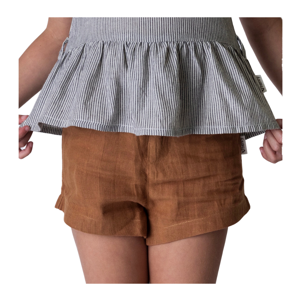 Toddler, bronze linen shorts.