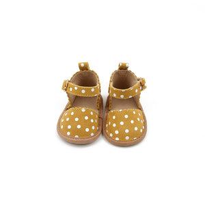 Mustard and white polka dot, baby mary janes.