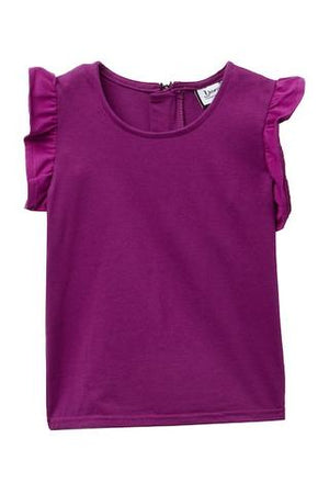 Fuchsia flutter sleeve girls top