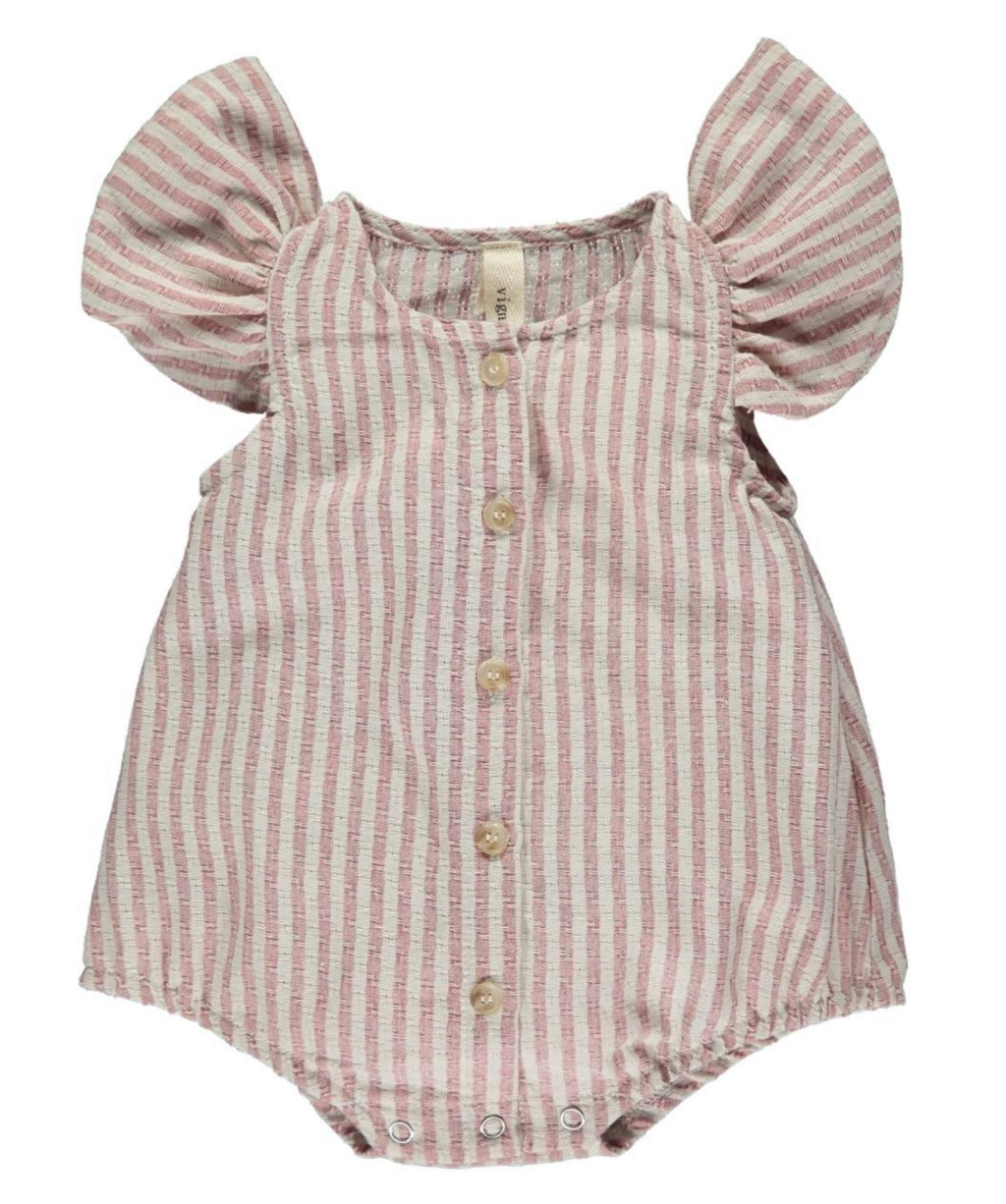beige and cream stripe, button down bubble baby romper.