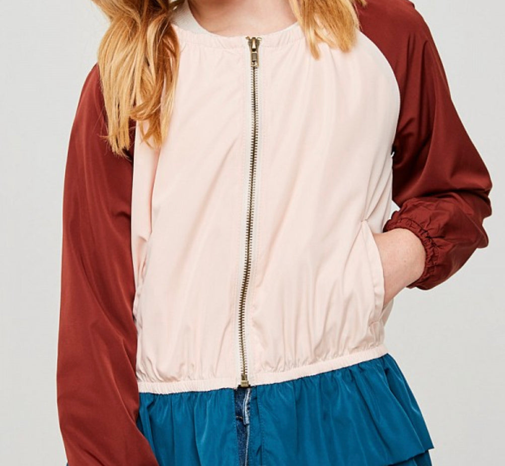 burgundy, blush and navy color block jacket.