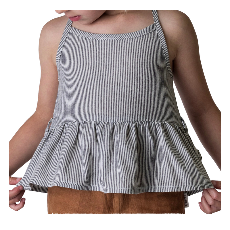 Charcoal and ivory stripe, peplum top for toddlers and tweens.