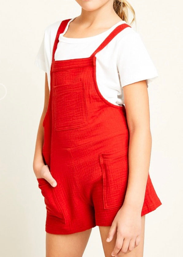 Girls red shortall jumpers