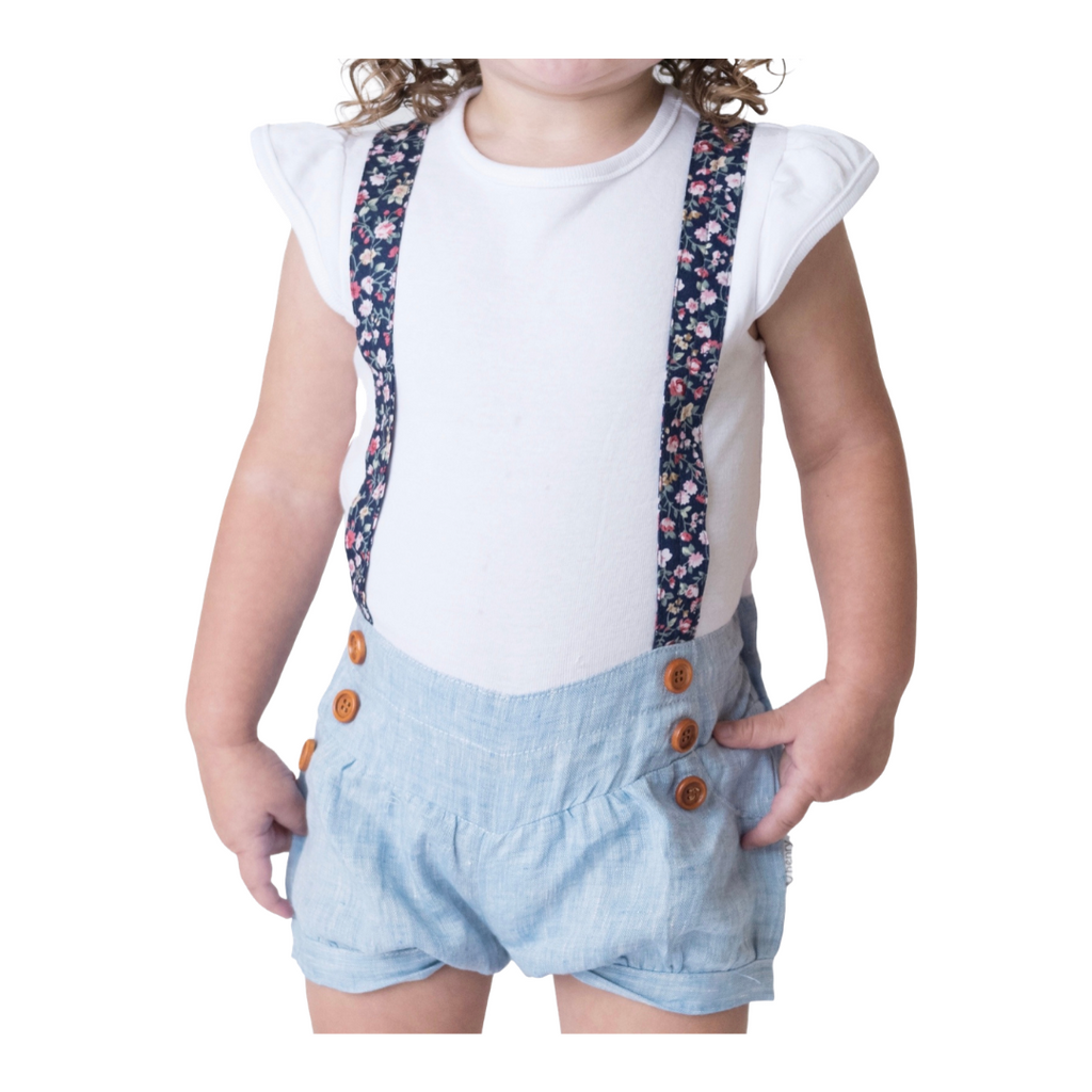 Toddler, suspender style playsuit.