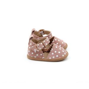 Blush and white polka dot, baby mary janes.