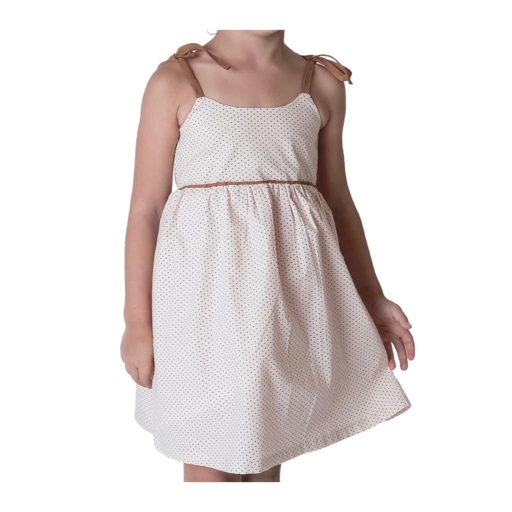 Tween, white and tan polka dot dress.