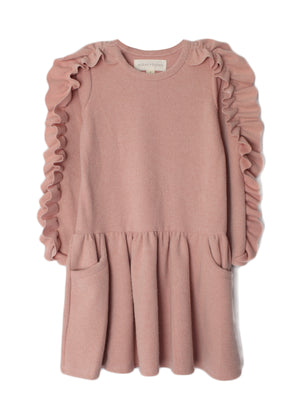 Our blush, tots and tweens ruffle sweater dress.