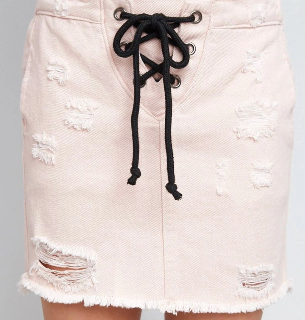 Trishelle Lace-up Distressed Pink Denim Skirt