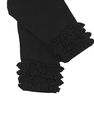 Black, ruffle detail leggings.