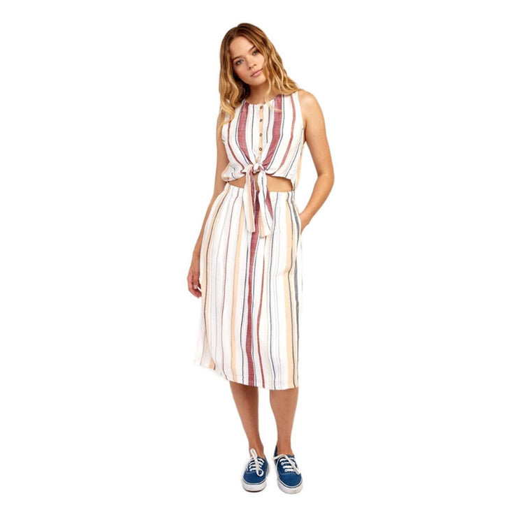 RVCA ARIZONA DRESS WHITE MULTI STRIPED