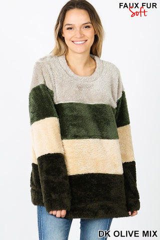 Olive Teddy Pullover