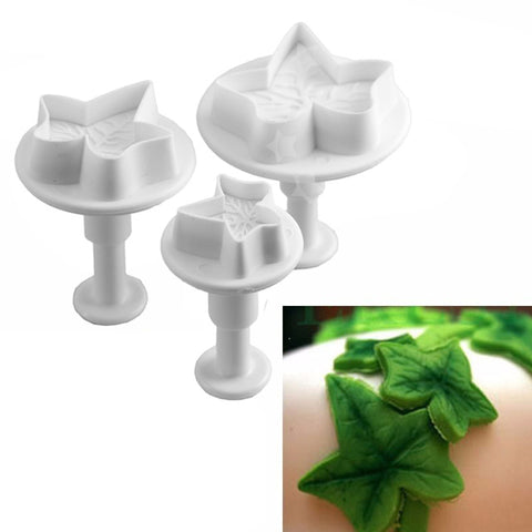 3pcs Ivy Leaf Push Cutters Set