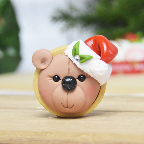 Christmas Bear 1 Brooch (Brown)