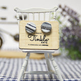 Button Earrings - Black (10mm)