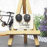 Button Earrings - Black/White (15mm)
