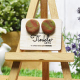 Button Earrings - Brown (15mm)