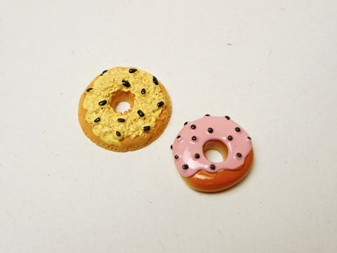 Vanilla and Strawberry Cream Donuts Cabochons Set