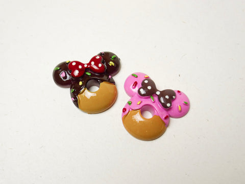 Chocolate and Strawberry Minnie Donuts Cabochons Set
