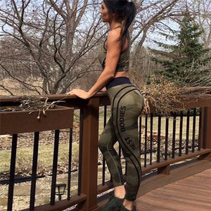 Women Gym Camo Leggings Slim