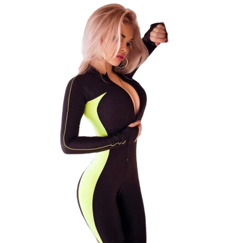 Fluorescent Push up Suit Fitness / Yoga (Zipper)