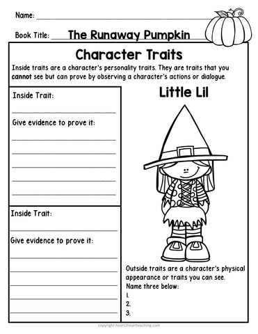 Character Traits Activities for The Runaway Pumpkin Book