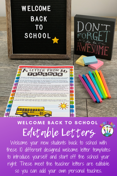 Back to School Welcome Letters from Teachers to Students