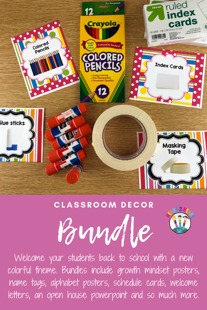 Welcome your students back to school with a new colorful theme. Bundles include growth mindset posters, name tags, alphabet posters, schedule cards, welcome letters, an open house powerpoint, class jobs, and so much more!