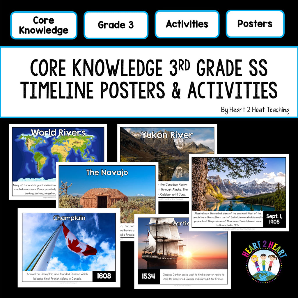 Core Knowledge 3rd Grade Social Studies Timeline Posters & Activity Pack