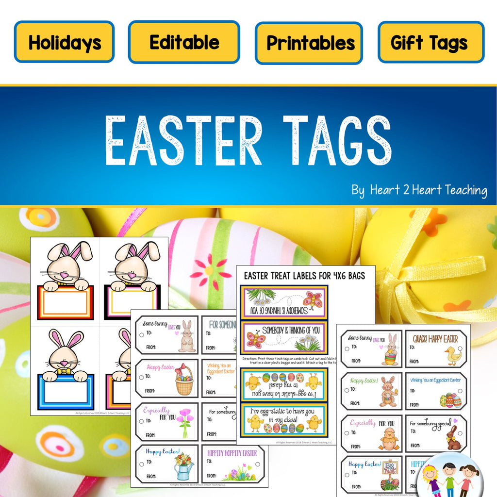 Easter Treat Bag Tags, Gift Tags, and Labels