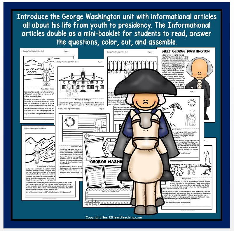 The Life Story of President George Washington Activity Pack