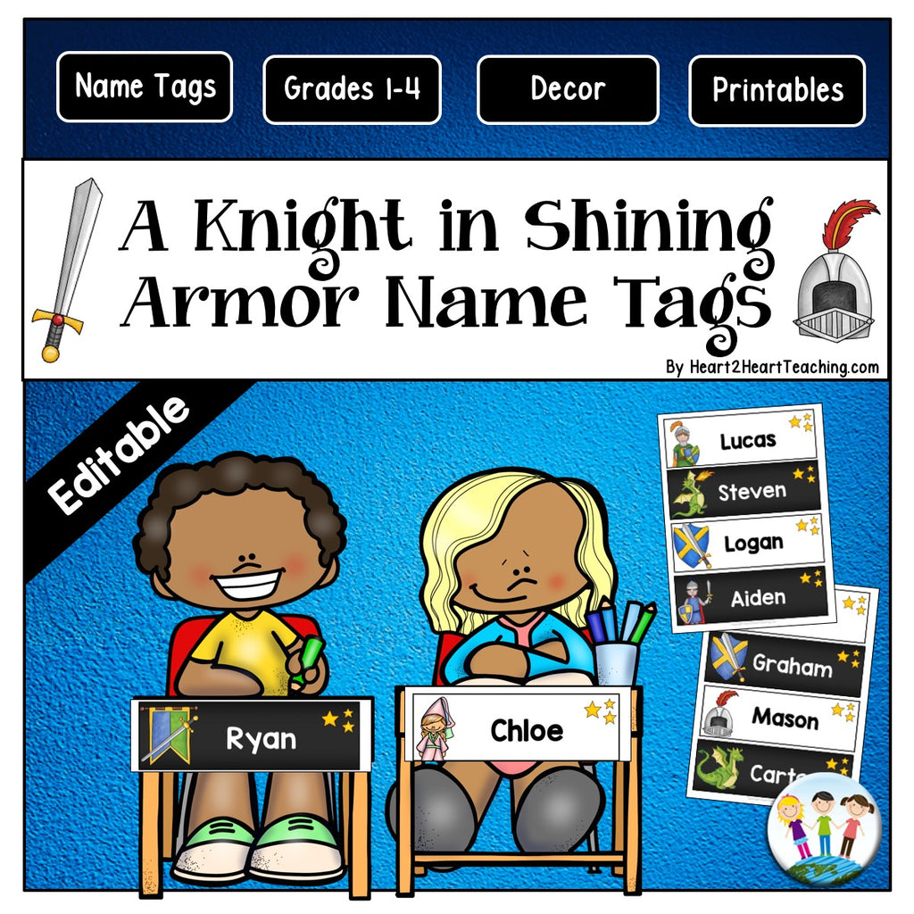 A Knight in Shining Armor Name Tag and Desk Plates