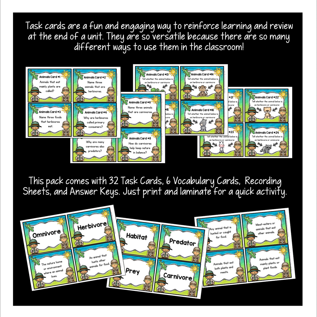 All About Animals: Carnivores, Herbivores, and Omnivores Task Cards