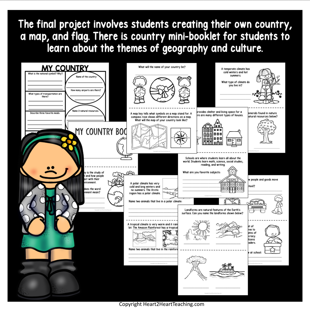 Create a Country Project for Elementary Grades 1-3