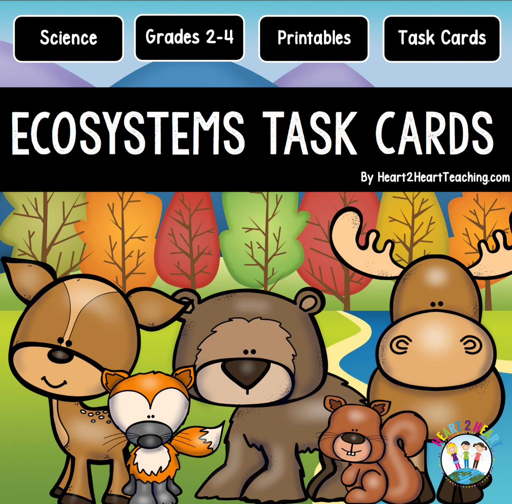 Ecosystems Task Cards & Bonus Vocabulary Cards