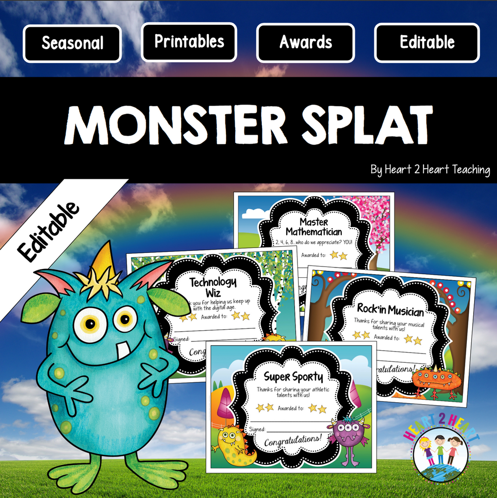 Monster Splat Class Awards for the End of the Year