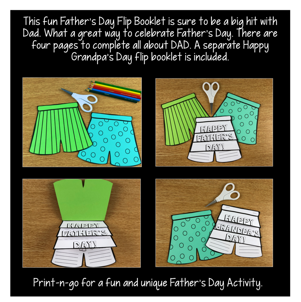 Father's Day Activities: Cool Shorts Flip Up Booklet