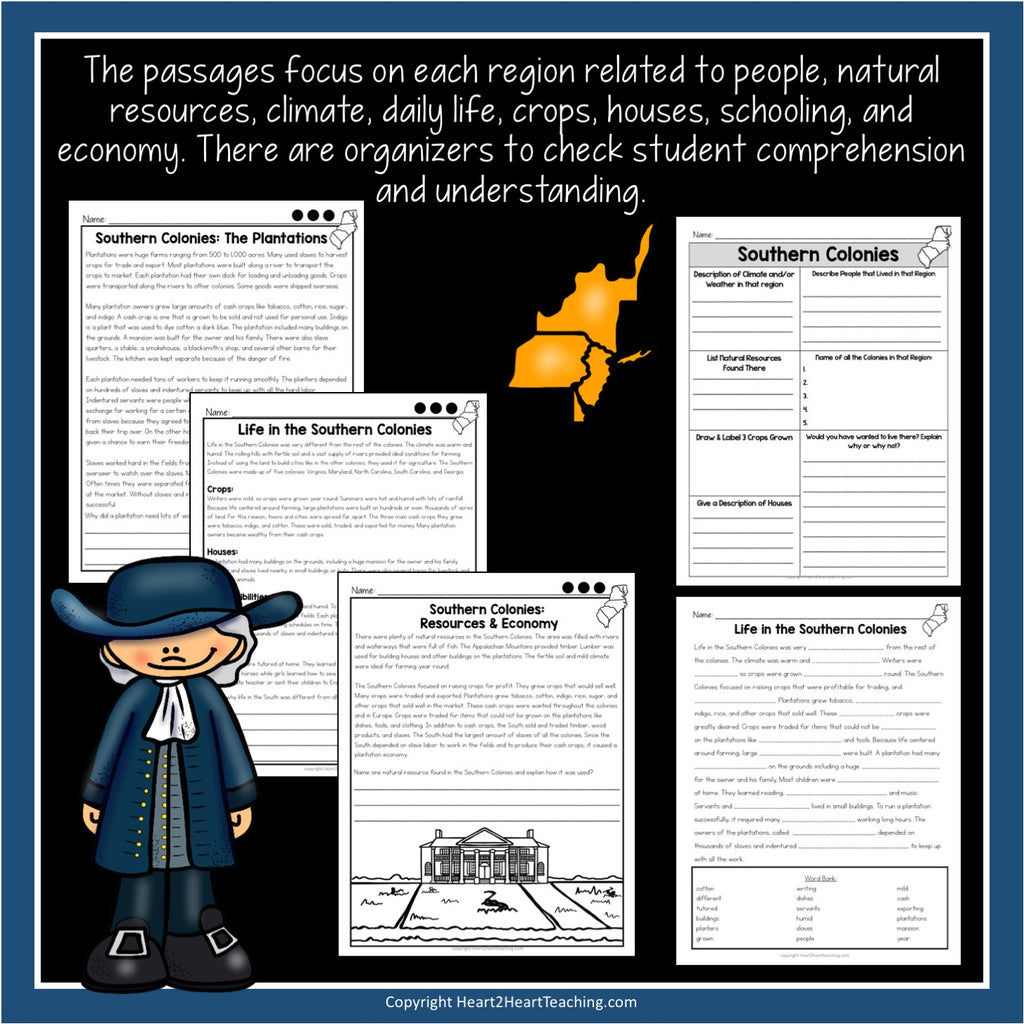 13 Colonies Unit with Leveled Passages, Activities, Flip Book & Test