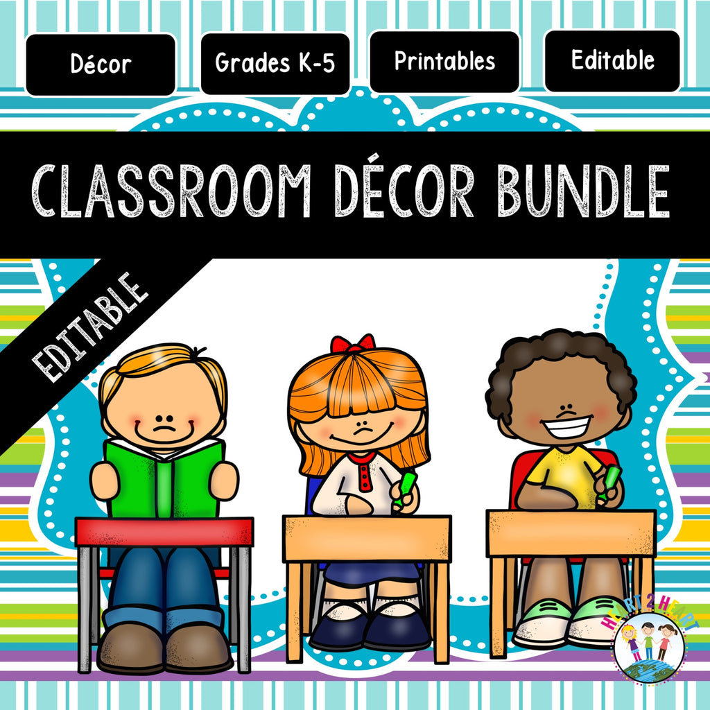 Turquoise, Lime Green, Purple Striped Classroom Decor Pack #13: Everything You Need to Set up Your Classroom