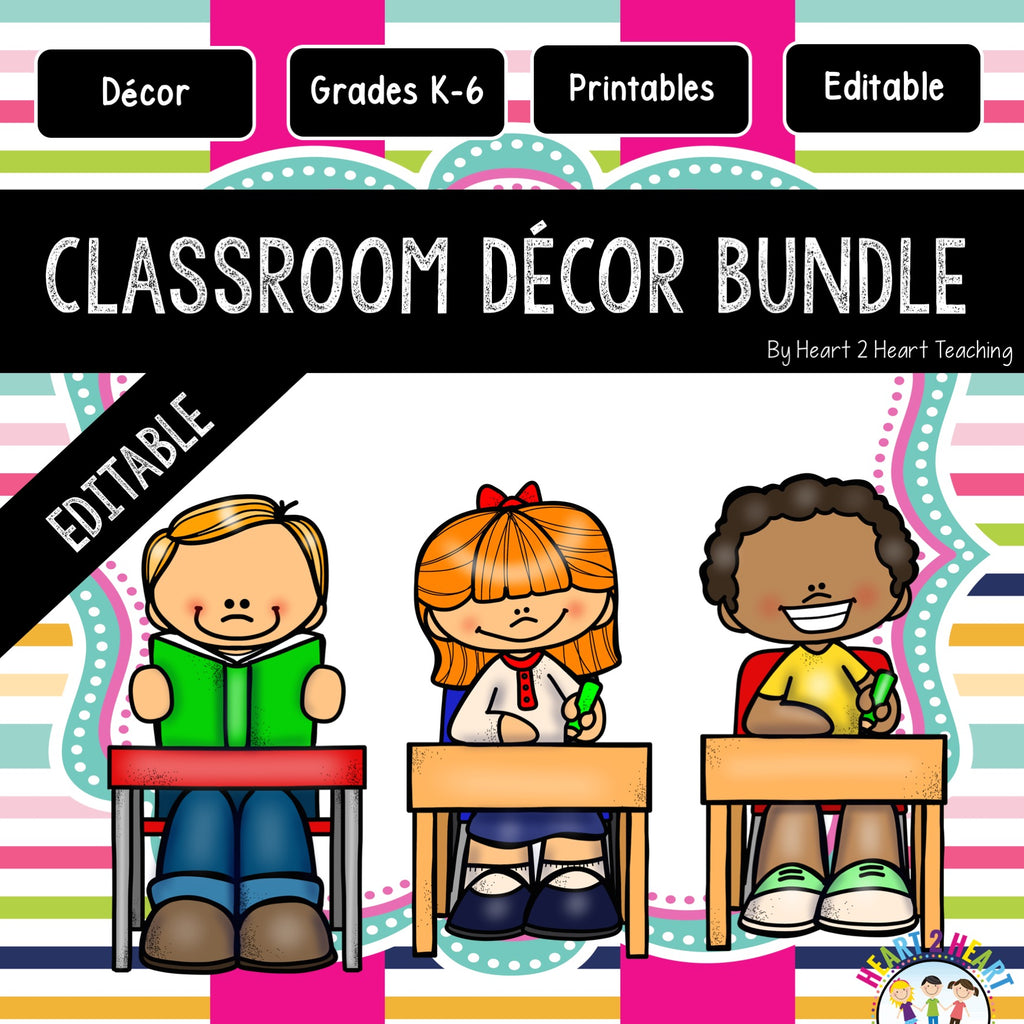 Gold, Blue, Lime Green, and Pink Striped Classroom Decor Pack #14: All You Need to Set up Your Classroom