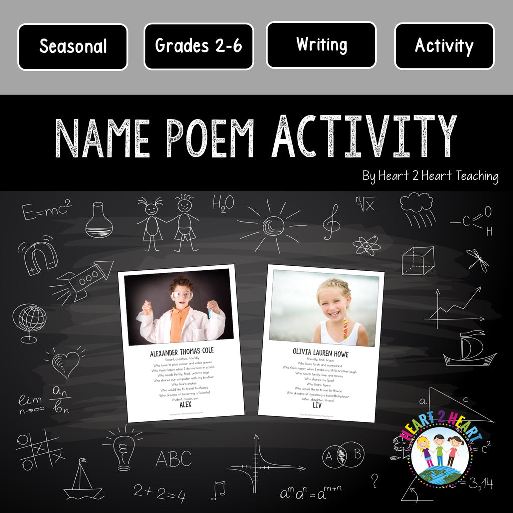 Back to School Activities for the First Week of School: Name Poem Activity