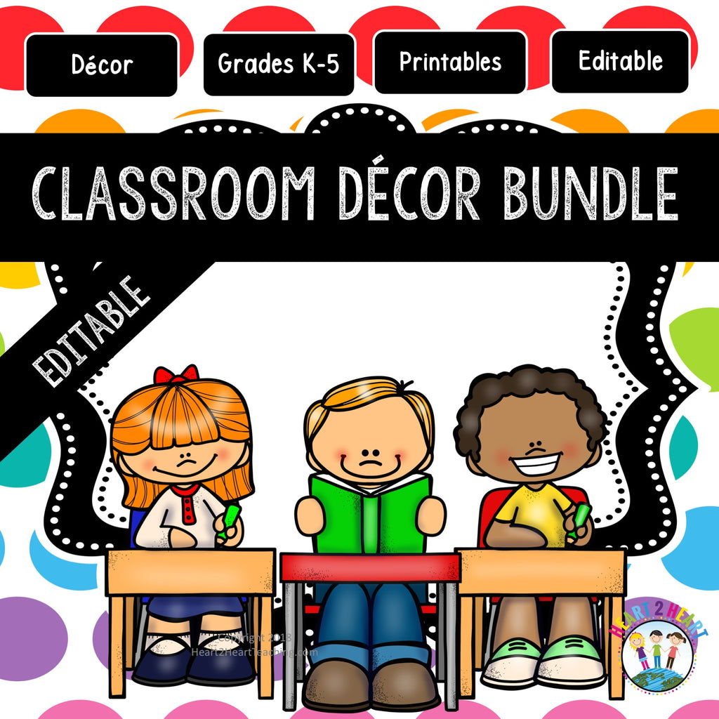 Rainbow Polka Dotted Classroom Decor Pack #7: Everything You Need to Set up Your Classroom