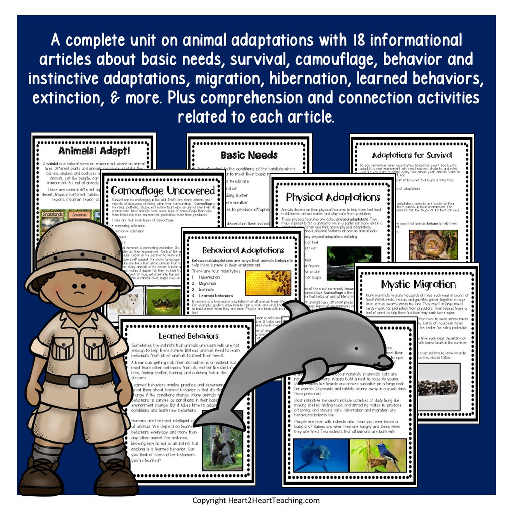 Animal Adaptions Unit with Giraffes, Camels, Dolphins, Gorillas & Jane Goodall