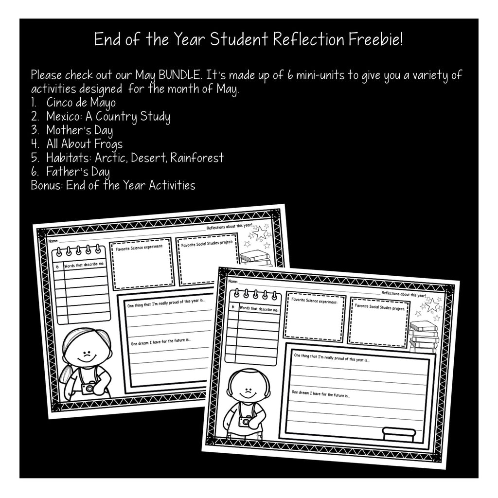 End of the Year Student Reflection Freebie