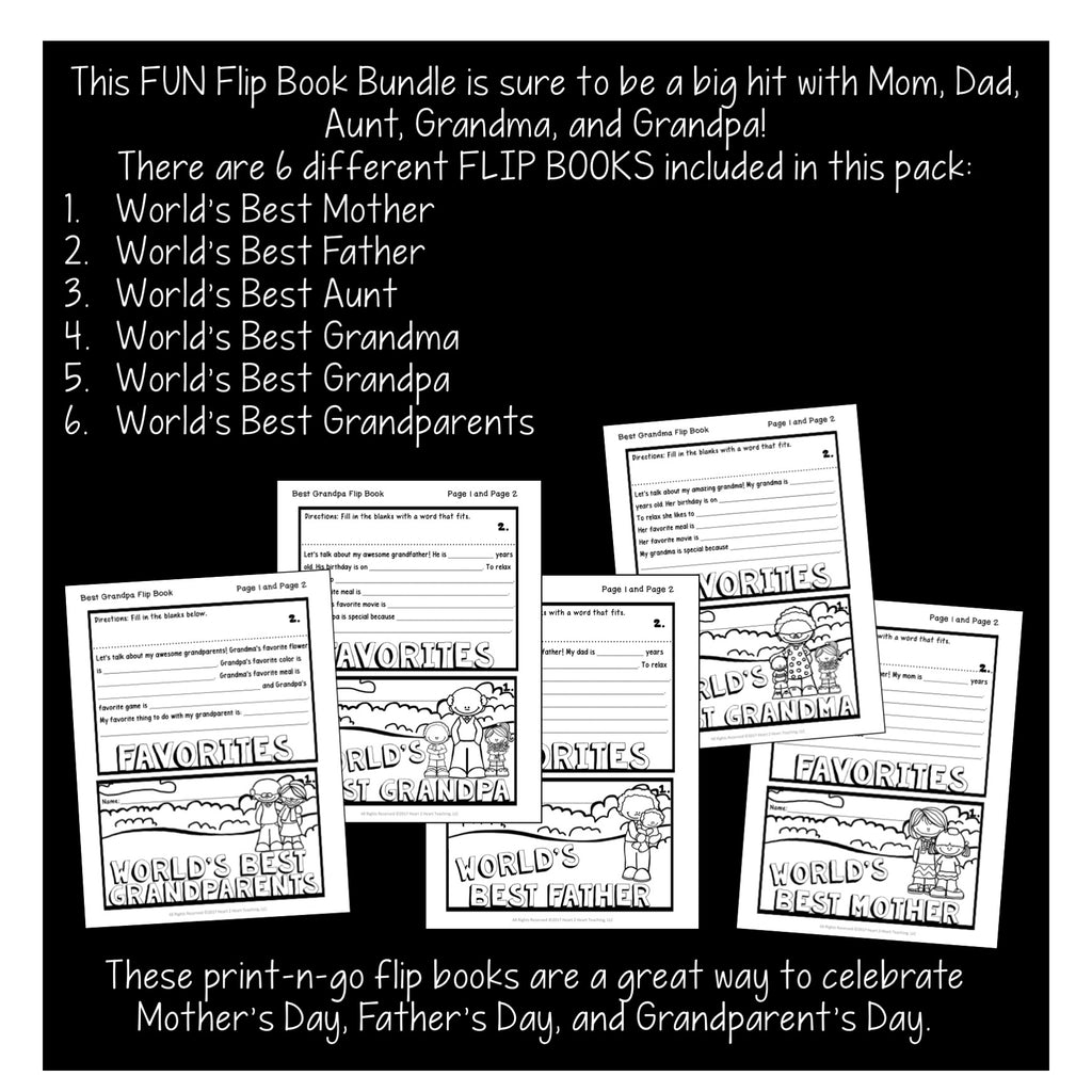 World's Best Mother, Father, Grandfathers Flip Book {Set of 3}