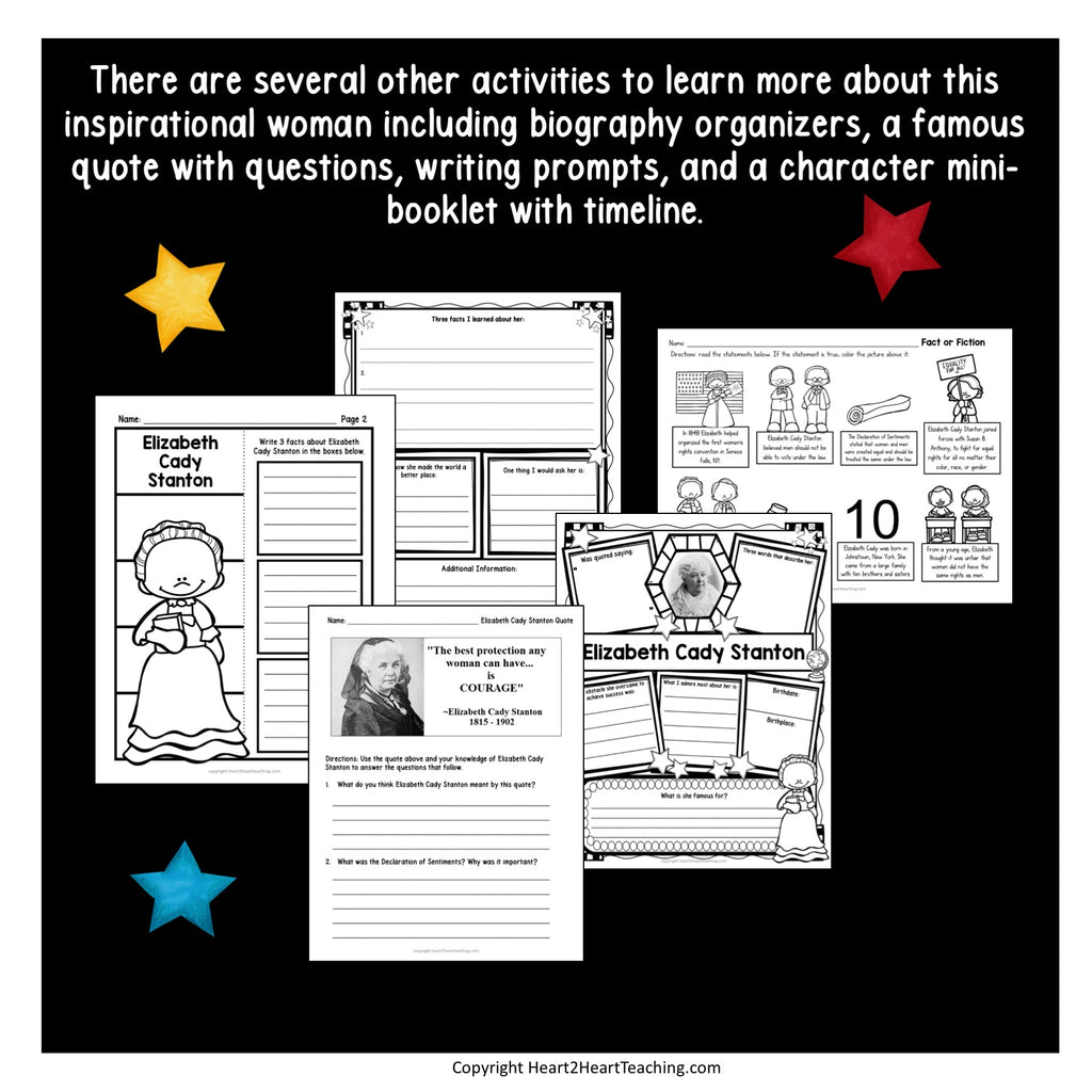 The Life Story of Elizabeth Cady Stanton Activity Pack