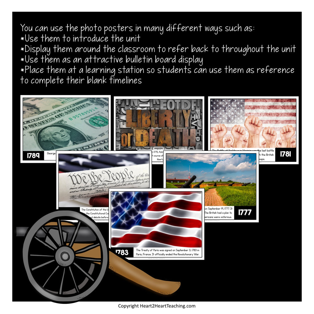 Revolutionary War Timeline Activities and Bulletin Board Kit