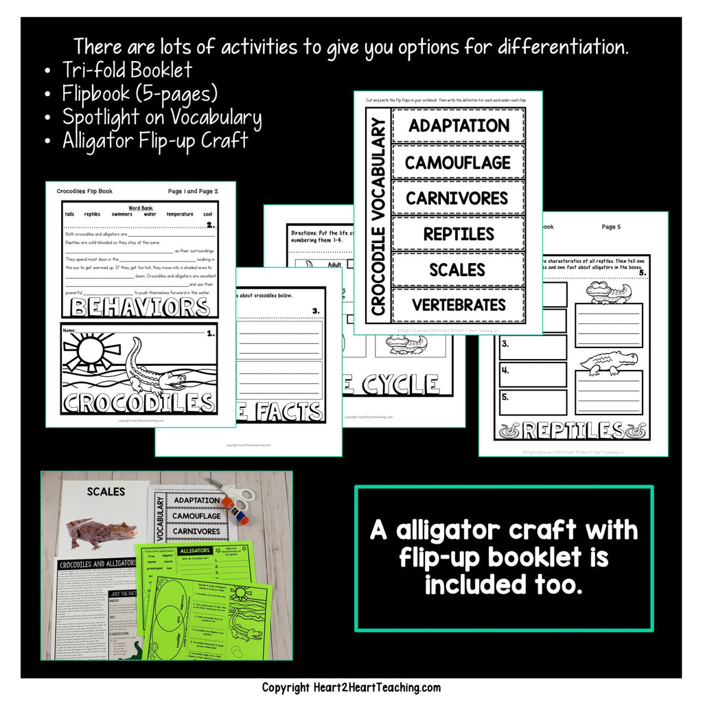 Crocodiles and Alligators Craft and Activity Pack
