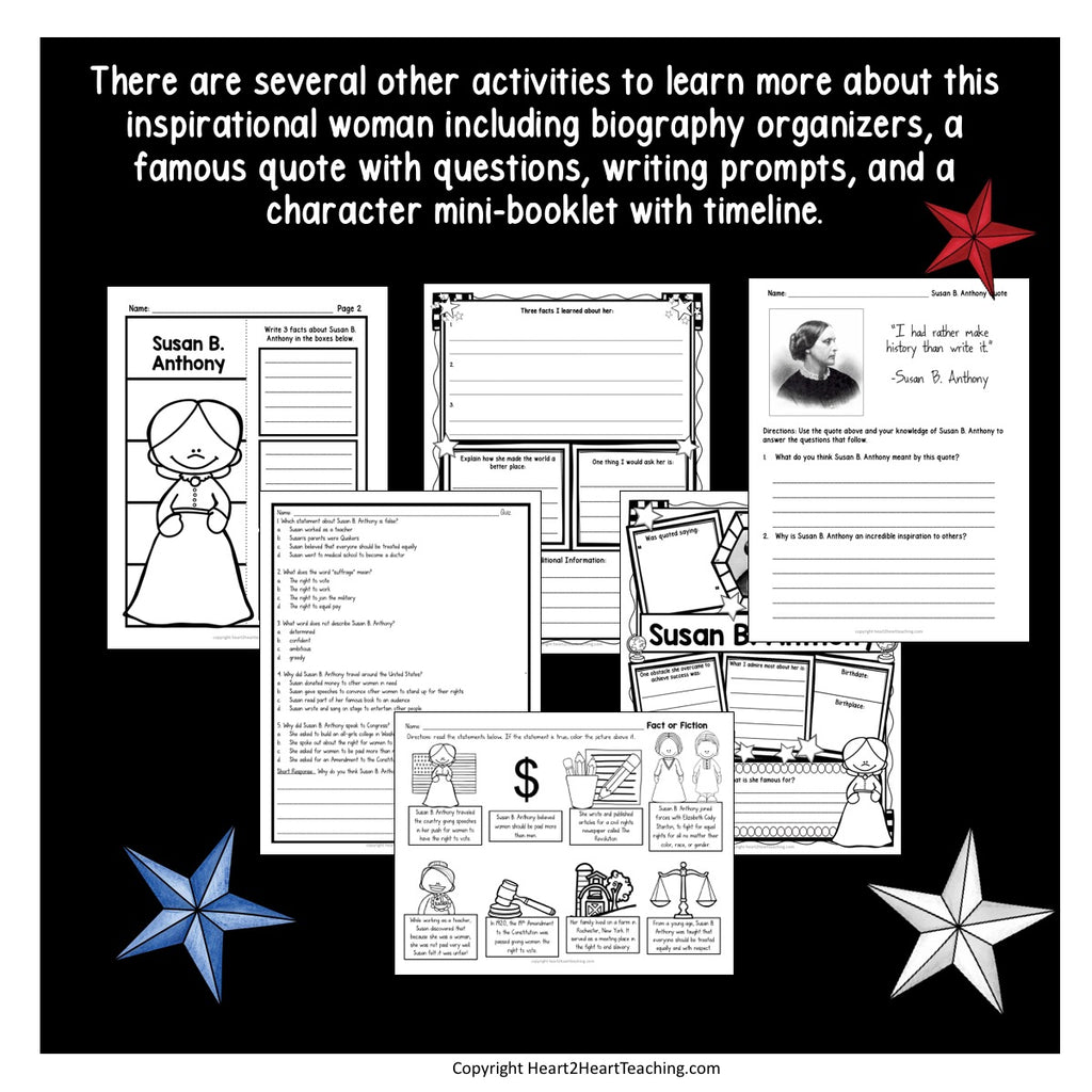 The Life Story of Susan B. Anthony Activity Pack