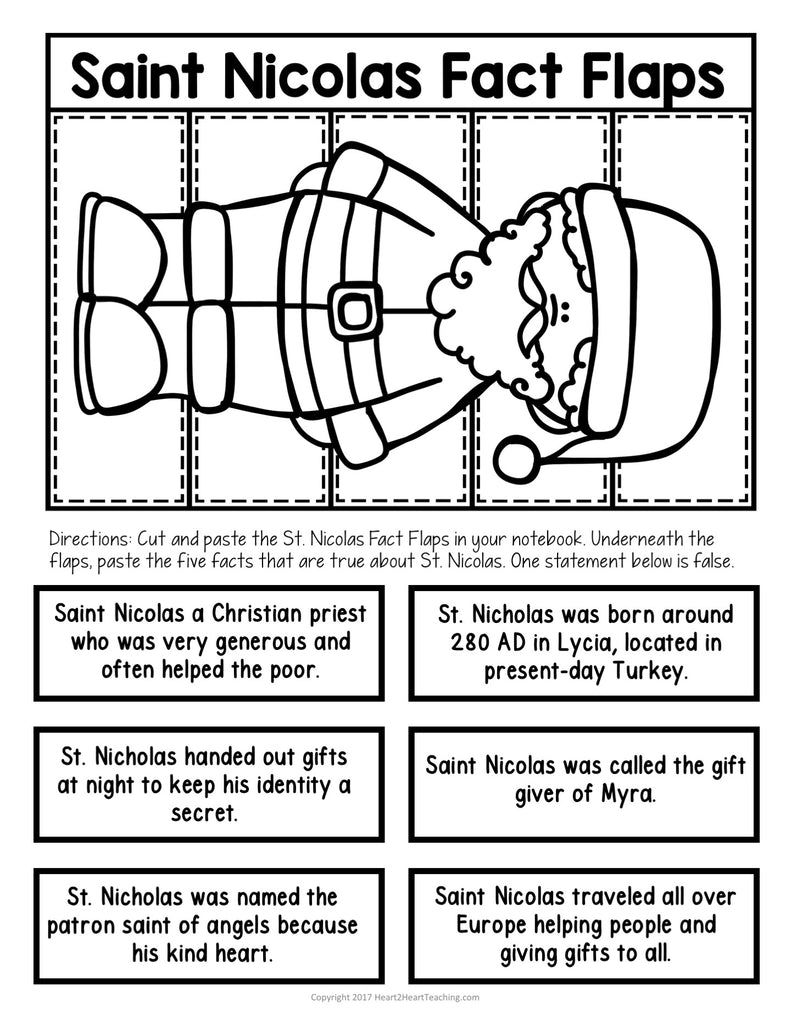 History of Christmas and Saint Nicholas Flaps Activity Freebie